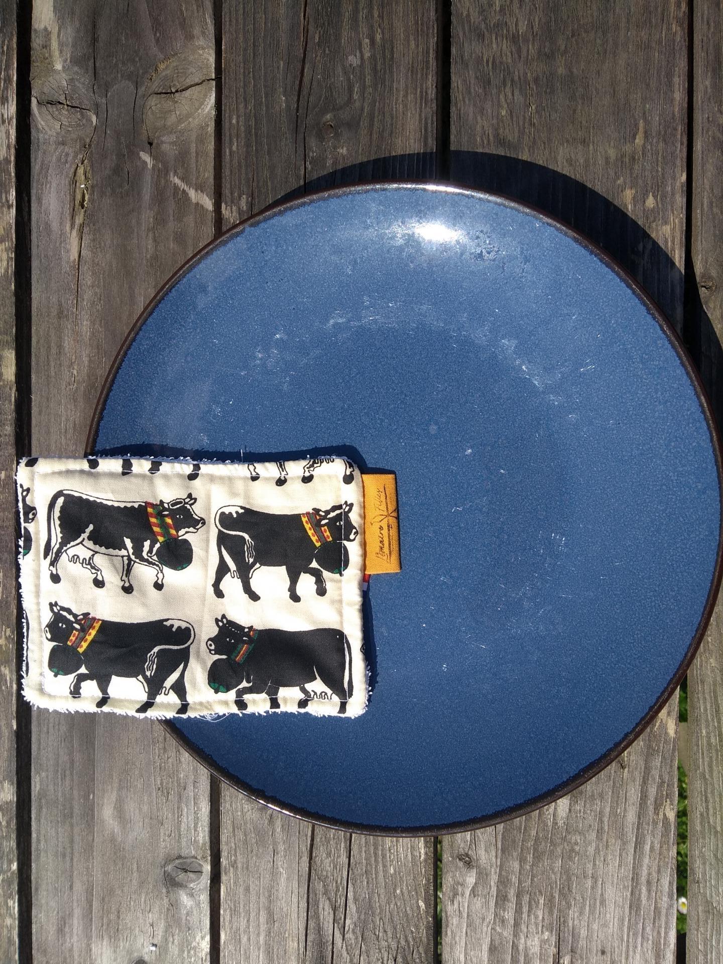 éponges lavables taureau et assiette