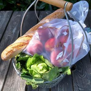 panier du marché, sac à vrac, baguette